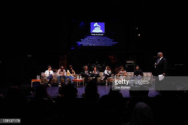 Darby Moeller Ant Demby Jenna Andrews Scoot Jacoby Leah Rich Stephanie Courtney attend the super panel The Playaz moderated by Berry Eastmond during...