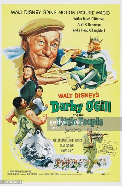 Darby O'gill And The Little People poster US poster art top from left Albert Sharpe Jimmy O'Dea below left Janet Munro Sean Connery 1959