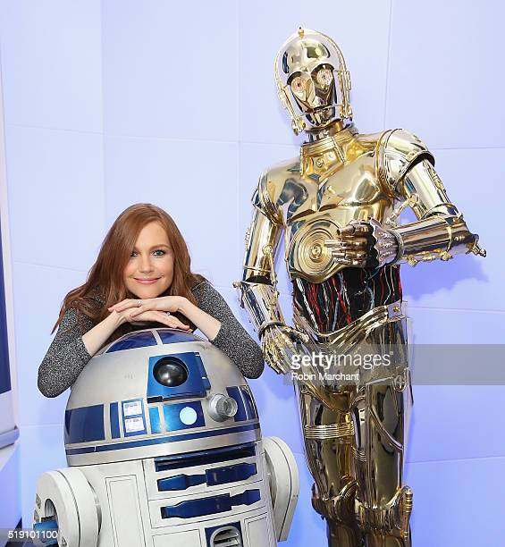 Darby Stanchfield with R2D2 and C3PO visit at SiriusXM Studio on April 4 2016 in New York City