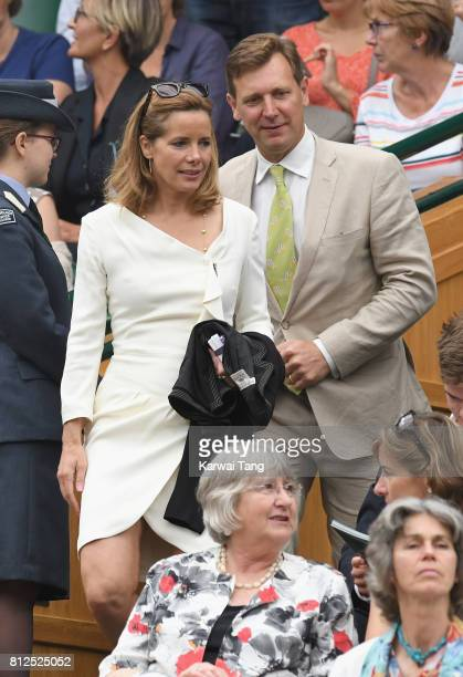 Darcey Bussell and Angus Forbes attend day eight of the Wimbledon Tennis Championships at the All England Lawn Tennis and Croquet Club on July 11...