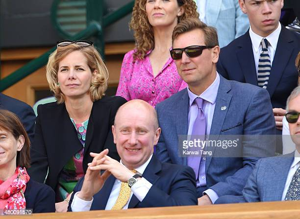 Darcey Bussell and Angus Forbes attend day ten of the Wimbledon Tennis Championships at Wimbledon on July 9 2015 in London England