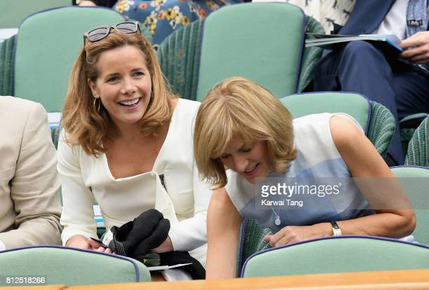 Darcey Bussell and Fiona Bruce attend day eight of the Wimbledon Tennis Championships at the All England Lawn Tennis and Croquet Club on July 11 2017...