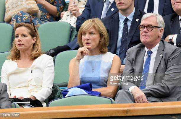 Darcey Bussell, Fiona Bruce and Nigel Sharrocks attend day eight of the Wimbledon Tennis Championships at the All England Lawn Tennis and Croquet...