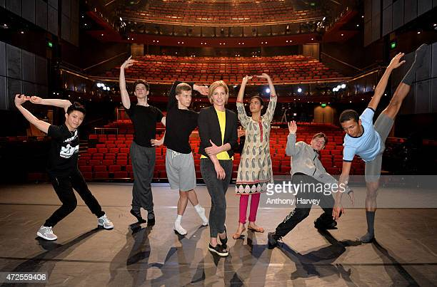Darcey Bussell Poses With The 6 Finalists ahead of the final of BBC Young Dancer at Sadler's Wells Theatre on May 8 2015 in London England