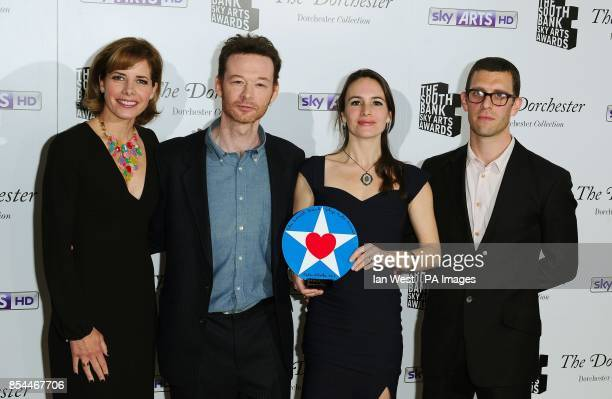 Darcey Bussell presents the Dance Award to Mark Bruce Elanor Duval and Jonathan Goddard for Dracula at the South Bank Sky Arts Awards at the...