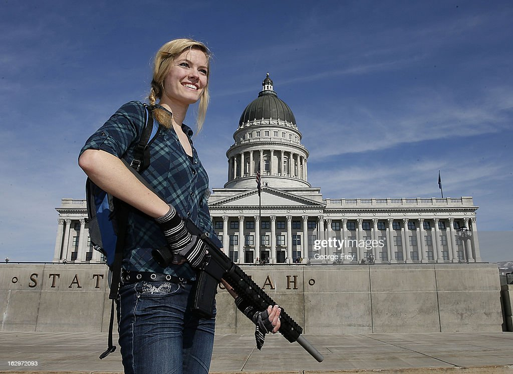 Darci Lund carries an AR-15 at a gun rights rally and march at the Utah State Capitol on March 2, 2013 in Salt Lake City, Utah.