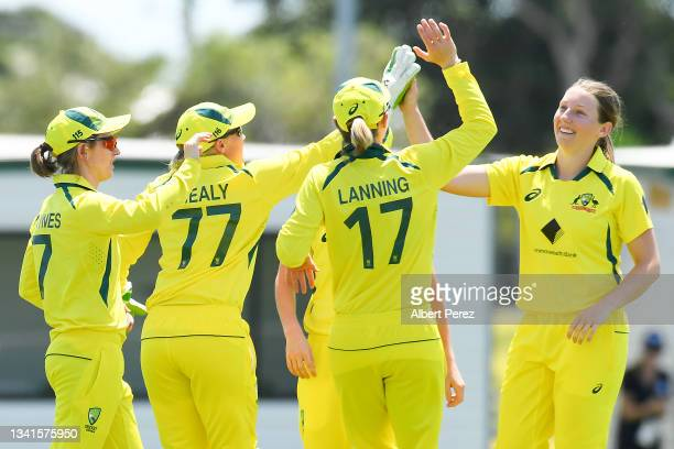Darcie Brown of Australia celebrates dismissing Yastika Bhatia of India during game one of the Women's One Day International series between Australia...