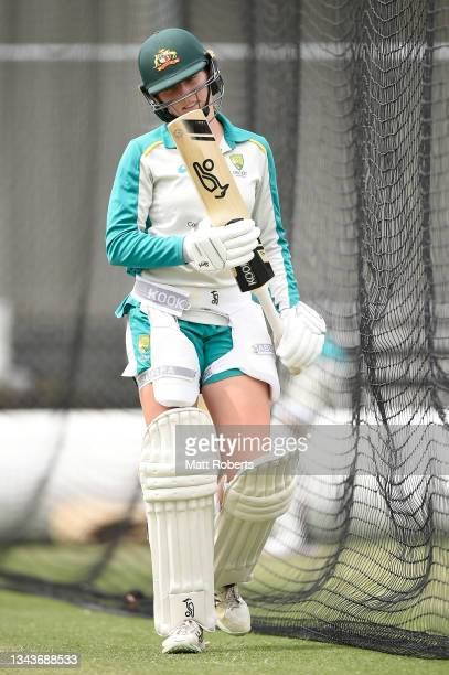 Darcie Brown of Australia during a training session after a media opportunity ahead of the Women's International Test match between Australia and...