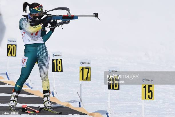 Darcie Morton of Australia competes in the women's biathlon 10 km pursuit on day seven of the 2017 Sapporo Asian Winter Games at Nishioka Biathlon...