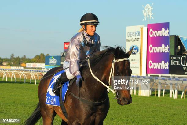 Darci's Money ridden by Jessica Eaton returns to the mounting yard after winning the Financial Momentum 0 58 Handicap on March 03 2018 in Wangaratta...