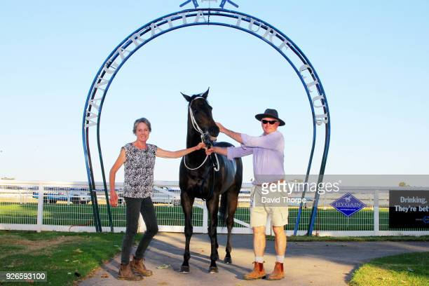 Darci's Money with connections in the mounting yard after winning the Financial Momentum 0 58 Handicap on March 03 2018 in Wangaratta Australia