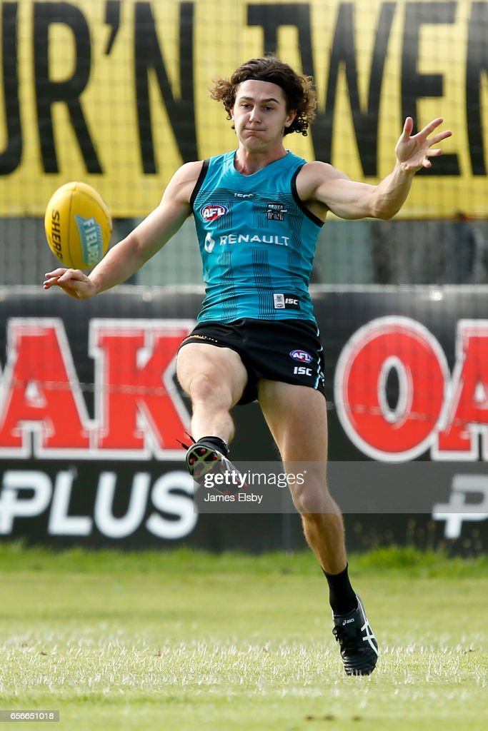 Darcy Byrne-Jones kicks during a Port Power AFL Training Session at Alberton Oval on March 23, 2017 in Adelaide, Australia.
