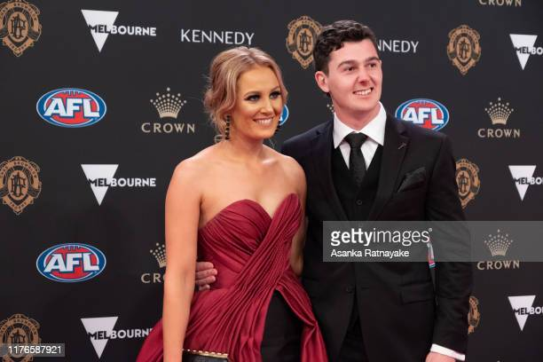 Darcy ByrneJones of the Power and his partner Alice McKeough arrives ahead of the 2019 Brownlow Medal at Crown Palladium on September 23 2019 in...