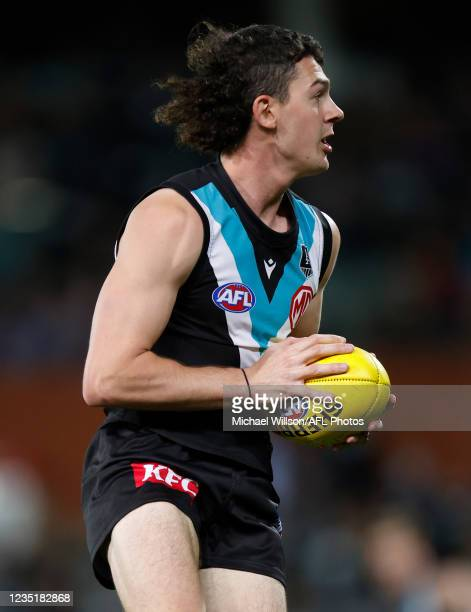 Darcy Byrne-Jones of the Power in action during the 2021 AFL Second Preliminary Final match between the Port Adelaide Power and the Western Bulldogs...