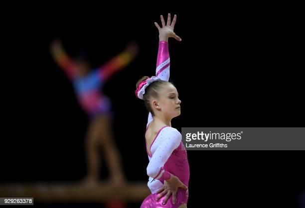 Darcy Fae Chesters of Warrington Gymnastics Club performs her floor routine in the Womens Junior AllAround during the Gymnastics British...