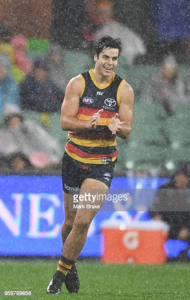 Darcy Fogarty of the Adelaide Crows celebrates a goal during the round nine AFL match between the Adelaide Crows and the Western Bulldogs at Adelaide...