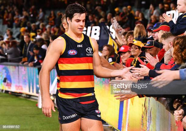 Darcy Fogarty of the Adelaide Crows thanks the fans after the round seven AFL match between the Adelaide Crows and the Carlton Blues at Adelaide Oval...