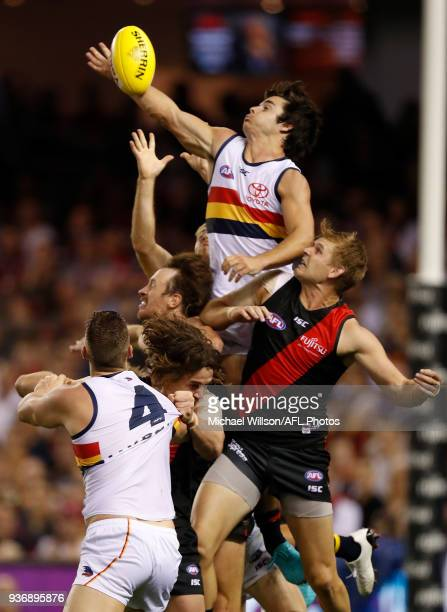 Darcy Fogarty of the Crows and Michael Hurley of the Bombers compete for the ball during the 2018 AFL round 01 match between the Essendon Bombers and...