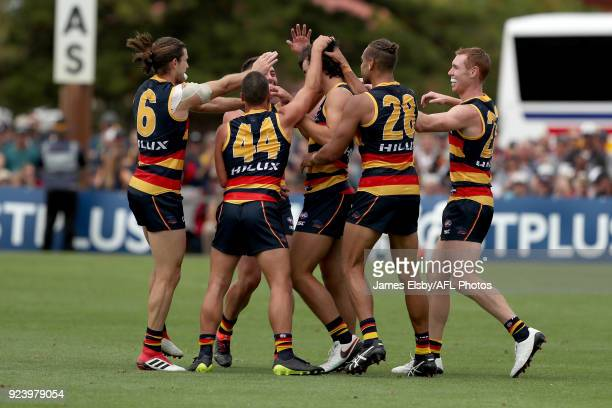 Darcy Fogarty of the Crows celebrates a goal during the AFL 2018 JLT Community Series match between the Adelaide Crows and the Fremantle Dockers at...