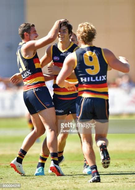 Darcy Fogarty of the Crows celebrates after kicking a goal during the JLT Community Series AFL match between Port Adelaide Power and the Adelaide...