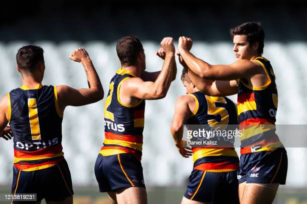 Darcy Fogarty of the Crows celebrates during the round 1 AFL match between the Adelaide Crows and the Sydney Swans at Adelaide Oval on March 21, 2020...