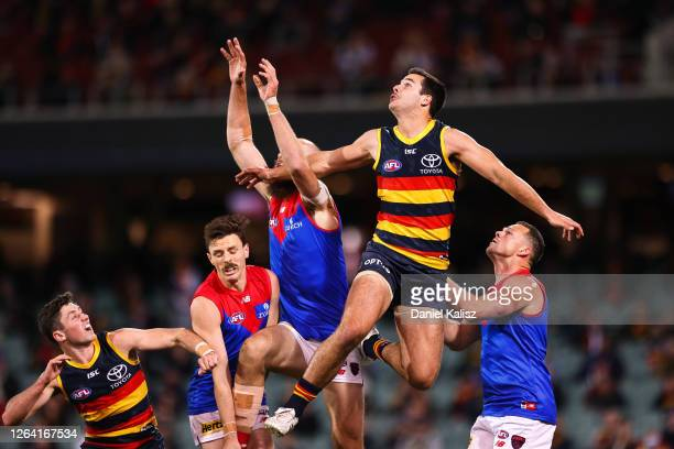 Darcy Fogarty of the Crows competes for the ball during the round 10 AFL match between the Adelaide Crows and the Melbourne Demons at Adelaide Oval...