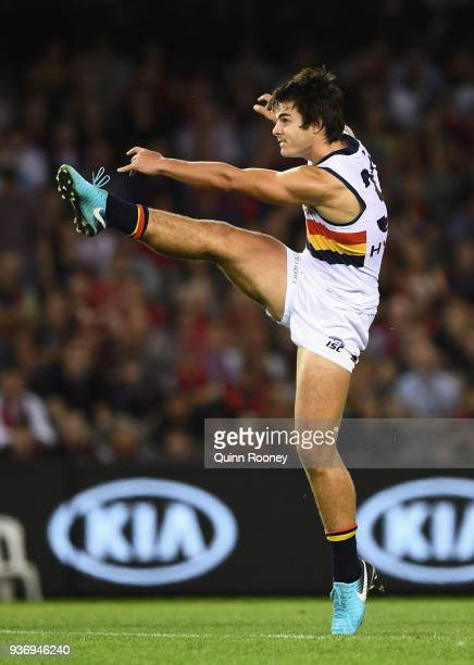 Darcy Fogarty of the Crows kicks during the round one AFL match between the Essendon Bombers and the Adelaide Crows at Etihad Stadium on March 23...