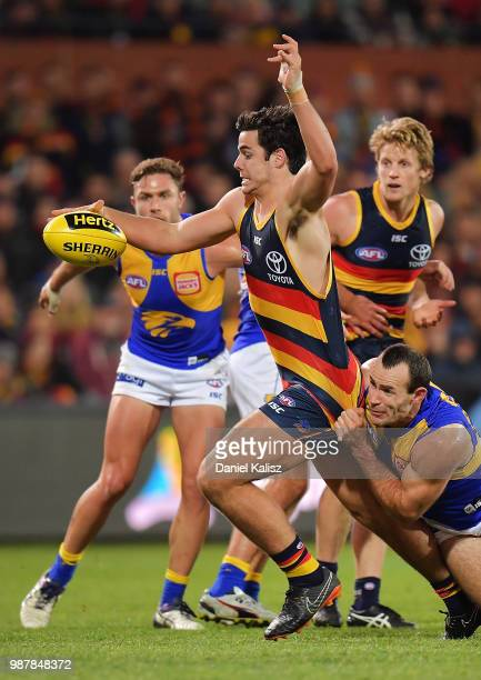 Darcy Fogarty of the Crows kicks the ball during the round 15 AFL match between the Adelaide Crows and the West Coast Eagles at Adelaide Oval on June...