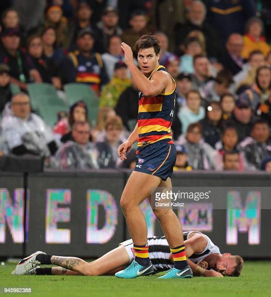 Darcy Fogarty of the Crows reacts during the round four AFL match between the Adelaide Crows and the Collingwood Magpies at Adelaide Oval on April 13...