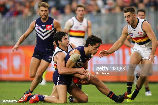 Darcy Fogarty of the Crows tackles Adam Cerra of the Dockers during the round 12 AFL match between the Fremantle Dockers and the Adelaide Crows at...