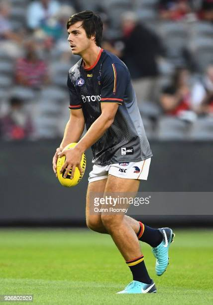 Darcy Fogarty of the Crows warms up during the round one AFL match between the Essendon Bombers and the Adelaide Crows at Etihad Stadium on March 23...