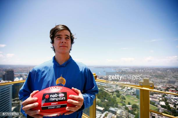 Darcy Fogarty poses for a portrait during an AFL Draft media opportunity at Sydney SKYWALK on November 22 2017 in Sydney Australia