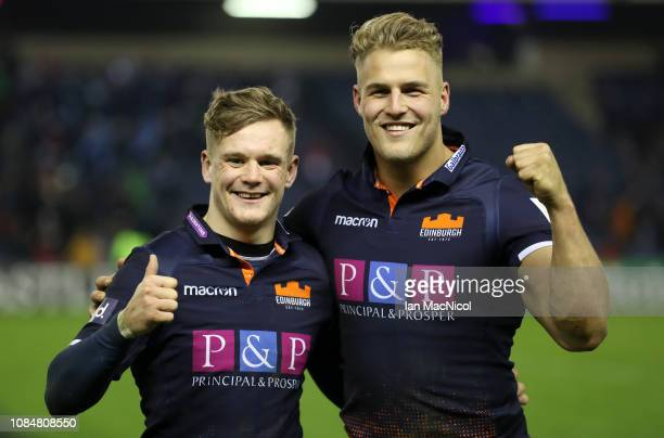 Darcy Graham of Edinburgh Rugby and Duhan van der Merwe of Edinburgh Rugby pose for a photograph after the Heineken Champions Cup match between...