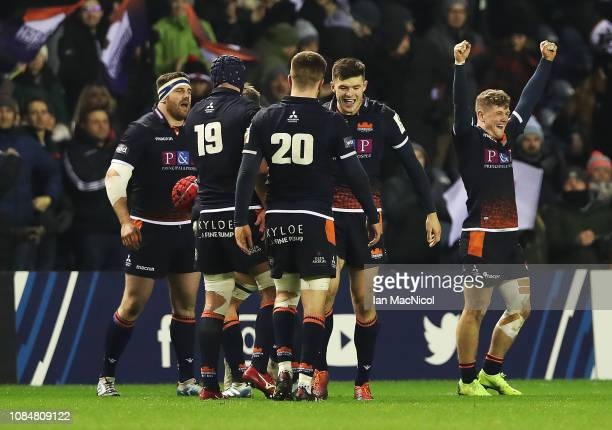 Darcy Graham of Edinburgh Rugby celebrates at full time during the Champions Cup match between Edinburgh Rugby and Montpellier Herault Rugby at...