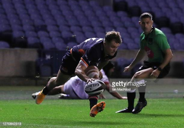 Darcy Graham of Edinburgh Rugby scores his side's second try during the Guinness PRO14 PlayOff Semi Final between Edinburgh and Ulster at Murrayfield...