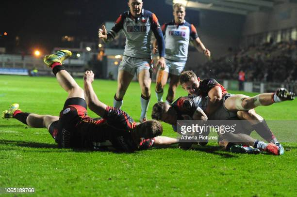 Darcy Graham of Edinburgh scores his sides second try during the Guinness Pro14 Round 09 match between the Dragons and Edinburgh at Rodney Parade...
