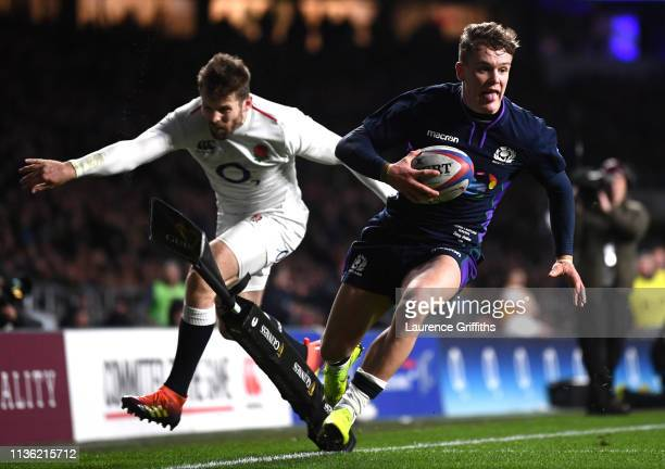 Darcy Graham of Scotland scores his team's fourth try during the Guinness Six Nations match between England and Scotland at Twickenham Stadium on...