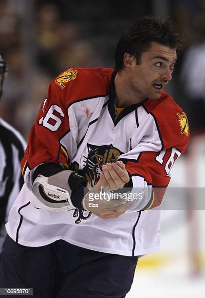 Darcy Hordichuk of the Florida Panther skates off the ice after a fight with Shawn Thornton of the Boston Bruins on November 18 2010 at the TD Garden...