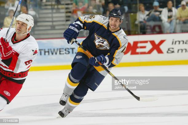Darcy Hordichuk of the Nashville Predators skates against the Carolina Hurricanes during the preseason NHL game at Gaylord Entertainment Center on...
