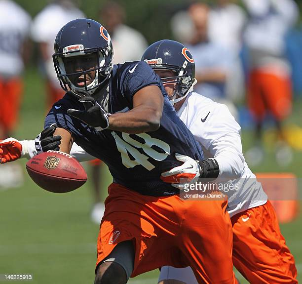 Darcy Johnson of the Chicago Bears tries for the ball under pressure from Blake Costanzo during a minicamp practice at Halas Hall on June 12, 2012 in...
