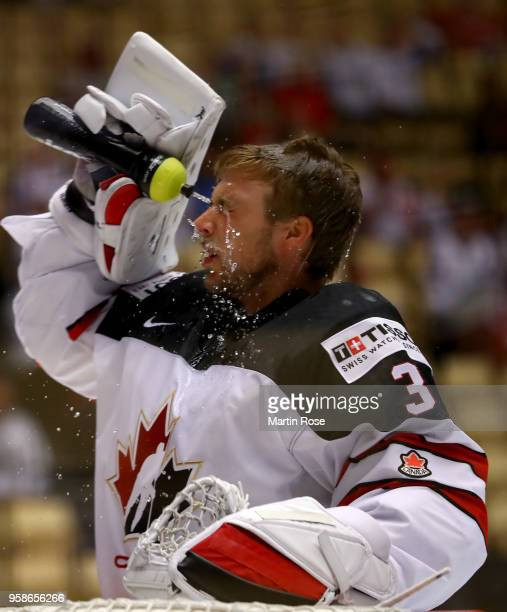 Darcy Kuemper goaltender of Canada takes a break during the 2018 IIHF Ice Hockey World Championship Group B game between Canada and Latvia at Jyske...