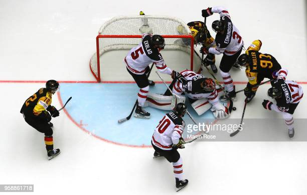 Darcy Kuemper, goaltender of Canada tends net against Germany during the 2018 IIHF Ice Hockey World Championship Group B game between Canada and...
