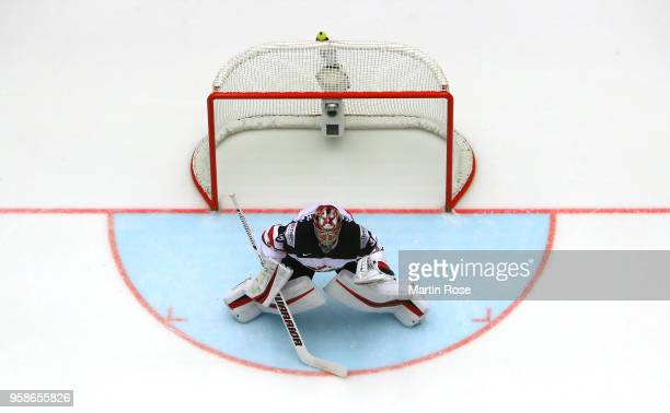 Darcy Kuemper goaltender of Canada tends net against Latvia during the 2018 IIHF Ice Hockey World Championship Group B game between Canada and Latvia...