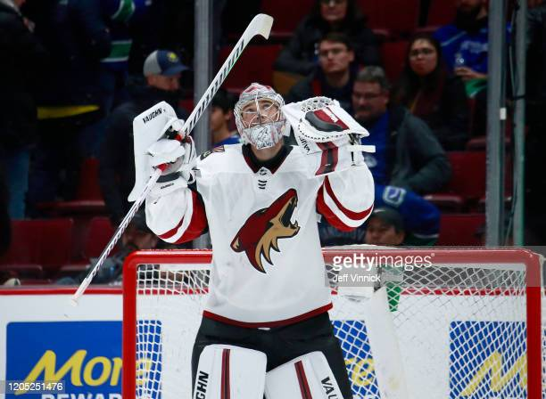 Darcy Kuemper of the Arizona Coyotes celebrates after winning their NHL game against the Vancouver Canucks at Rogers Arena March 4, 2020 in...