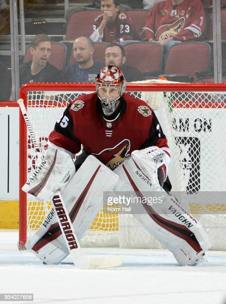 Darcy Kuemper of the Arizona Coyotes gets ready to make a save against the Nashville Predators at Gila River Arena on March 15 2018 in Glendale...