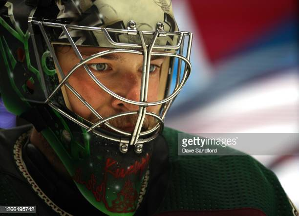 Darcy Kuemper of the Arizona Coyotes looks on while playing the Colorado Avalanche during the second period of Game Three of the Western Conference...