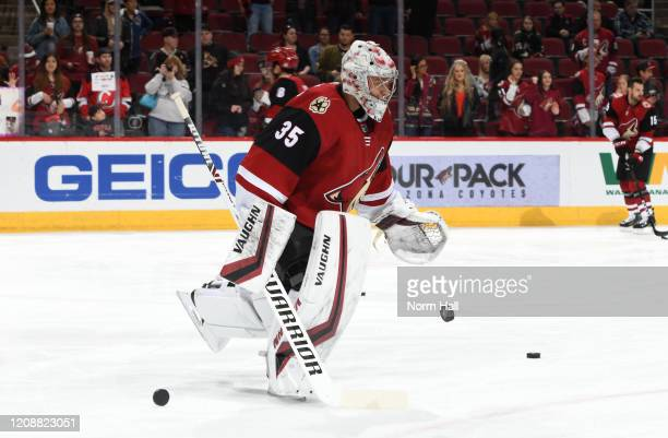 Darcy Kuemper of the Arizona Coyotes prepares for a game against the Florida Panthers at Gila River Arena on February 25 2020 in Glendale Arizona