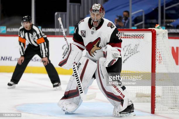 Darcy Kuemper of the Arizona Coyotes tends goal against the Colorado Avalanche in the second period at Ball Arena on March 08, 2021 in Denver,...