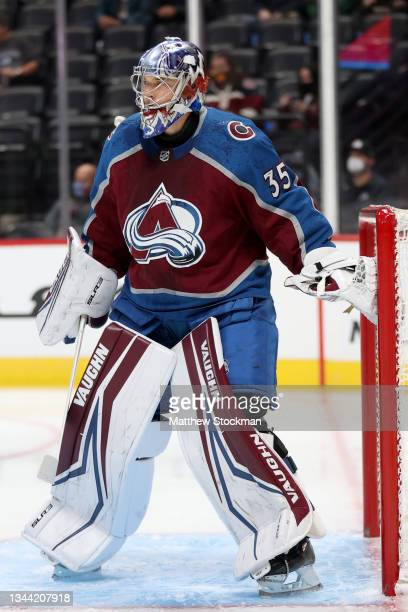 Darcy Kuemper of the Colorado Avalanche tends goal against the Minnesota Wild in the first period at Ball Arena on September 30, 2021 in Denver,...