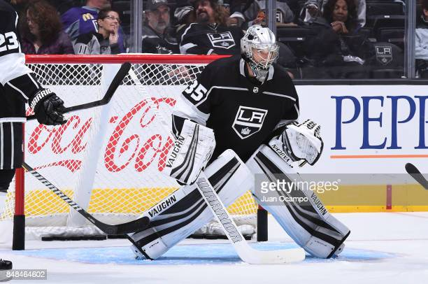 Darcy Kuemper of the Los Angeles Kings defends the goal before a game against the Vancouver Canucks at STAPLES Center on September 16 2017 in Los...